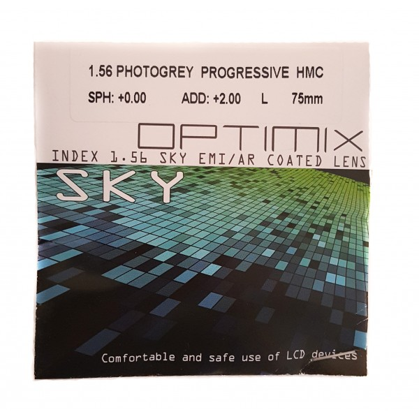 Optimix Sky 1.56 HMC Progressive Photochromic Grey